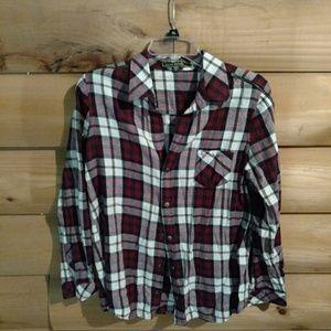 Soft flannel zipper shoulders top